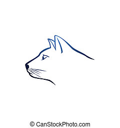 Navy blue cat head logo