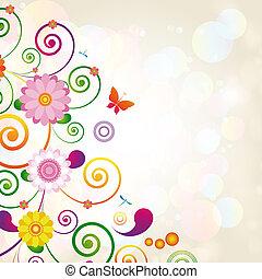 regalo, card., floral, diseño, fondo.,