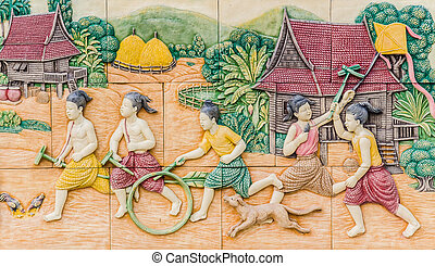 Architecture on wall in wat pho
