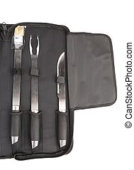 Set of tools for bbq in black bag.