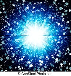 Blue color design background with a shining burst.
