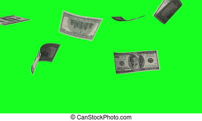 Money rain of dollar bills on the green background