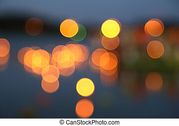 abstract background of blurred warm lights with bokeh effect