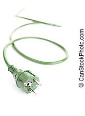 Green power - Green energy concept (green energy plug over a...