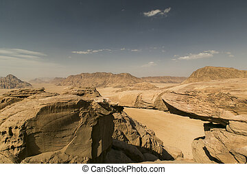 Big Rock bridge in Wadi Rum desert, Jordan - Stone rock...