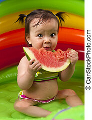 Baby girl in eating watermelon - Baby girl eating watermelon...