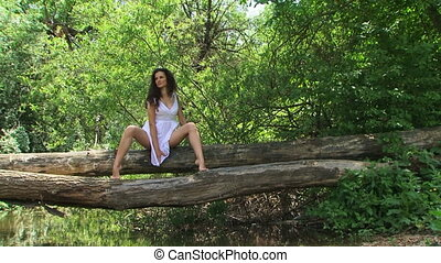 Posing in a forest