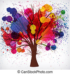 tree with branches made of watercolor drops - abstract...