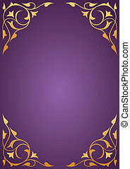 Golden pattern frames on purple