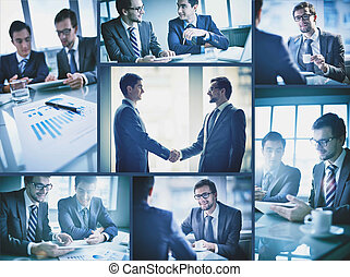 Businessmen at meeting - Collage of two young businessmen...