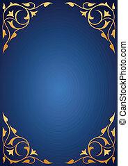 Golden pattern frames on blue background