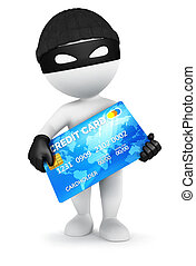 3d white people thief with a credit card, isolated white...