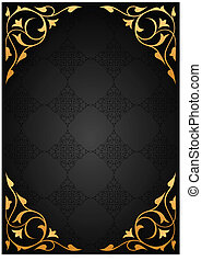 Golden pattern frames over black background