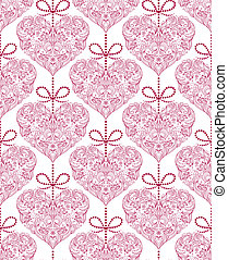seamless pattern with floral hearts - Vector illustration of...