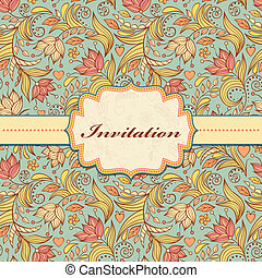 floral invitation card - Vector illustration of colorful...