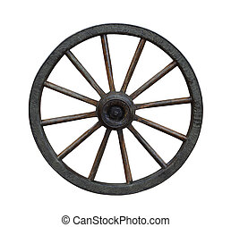 Carriage Wheel - Grunge wagon wheel isolated on white...