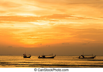 sunset - Sunset seascape at nathon beach, ko samui, thailand...
