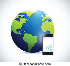 globe and phone with signal illustration design