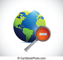globe and a negative magnify glass illustration