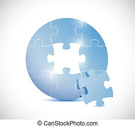 blue puzzle circle illustration design over a white...