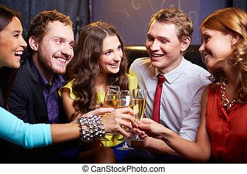 Cheering at party