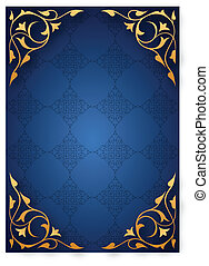 Golden pattern frames over blue