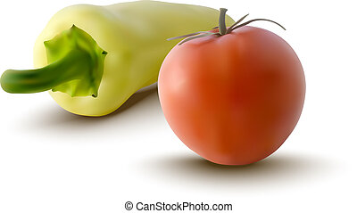 red tomatoe and yellow pepper - realistic illustration of...
