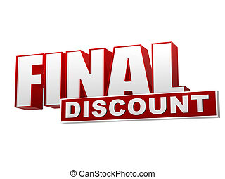 final discount red white banner - letters and block - text...
