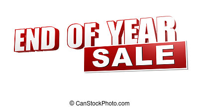 end of year sale red white banner - letters and block - text...