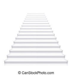 Front white staircase. Vector illustration.