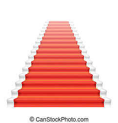 Front staircase and red carpet. Vector illustration.