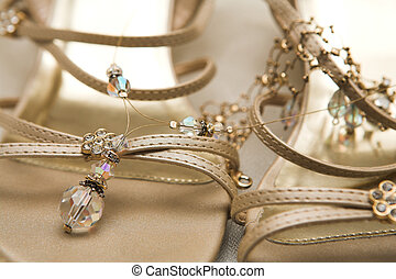 Bridal shoes - Close-up of bridal shoes with crystal...