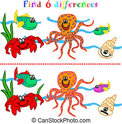 Difference game with marine life - Find 6 difference game or...