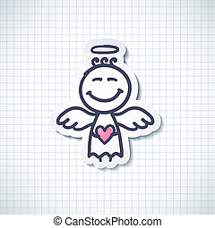 hand drawn angel with heart, vector illustration