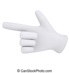 White gloves. Forefinger shows. 3d render isolated on white...