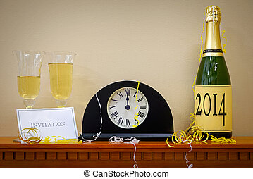 2014 New Year Champagne and clock - A clock showing midnight...