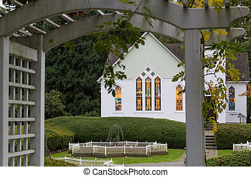 Country church window at evening