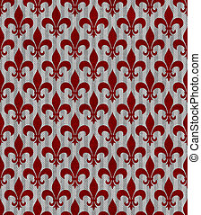 Red and Gray Fleur De Lis Textured Fabric Background that is...