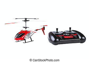 radio-controlled model of the helicopter with the control...