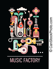Music Factory - Abstract art composition Graphic design with...