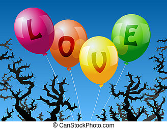 Balloons Love - Four balloons, which are labeled with the...