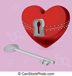 heart with a secret - red sekrdtse with locks and keys from...