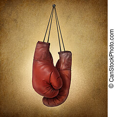 Boxing Gloves Grunge - Boxing gloves hanging on an old...