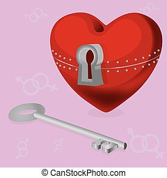 heart with a secreteps - red sekrdtse with locks and keys...