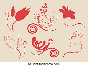 Floral vector elements in various styles for ornate and...