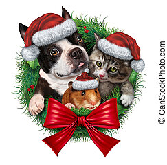 Pets Holiday Wreath - Pets holiday wreath with a dog cat and...