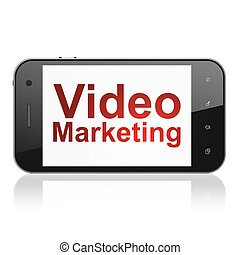 Finance concept: Video Marketing on smartphone - Finance...