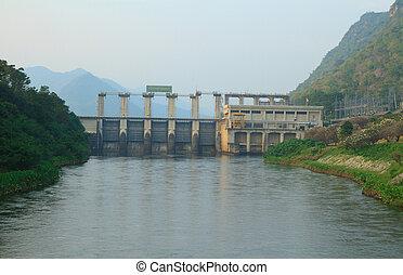 Dam - Srinakarin Dam Dam hydro-electric, Kanchanaburi,...