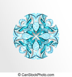 Paper snowflake with stars and twinkly lights - Blue paper...