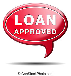 loan approved icon or button loaning money for car house...